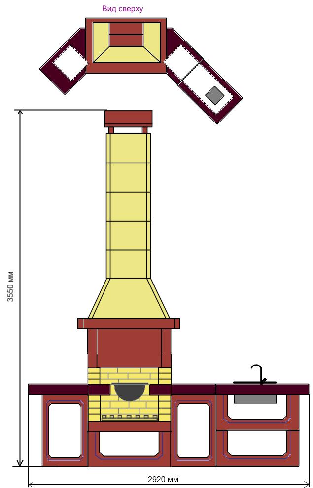 Проект №10. Печь-барбекю для казана угловая.